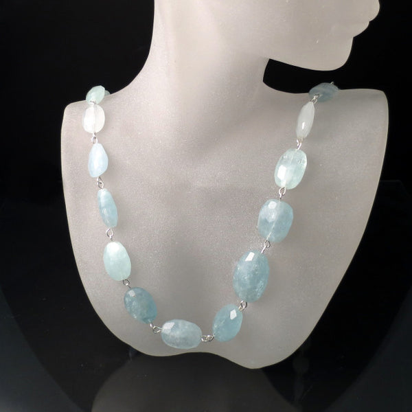 aquamarine blue gemstone necklace handmade