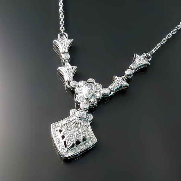 Art Deco CZ Jewelry - Vintage style Cubic Zirconia necklace