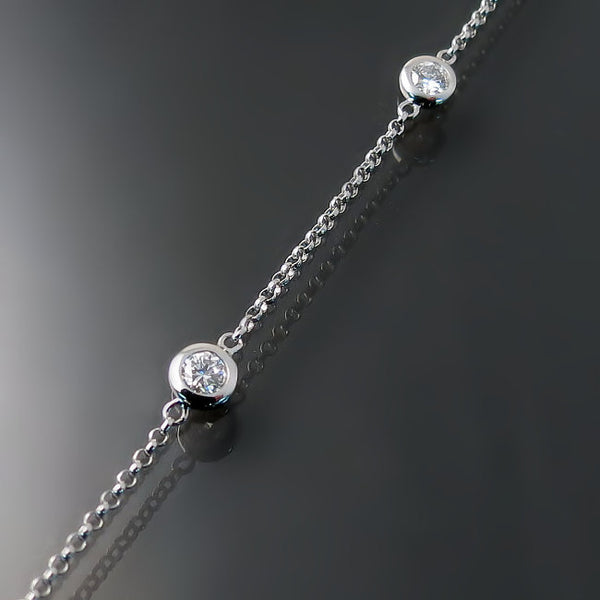bezel set diamond station bracelet
