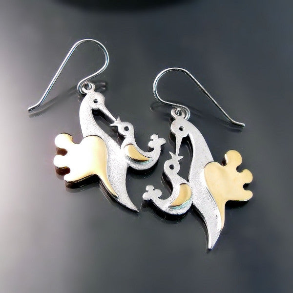 Mother's Day Jewelry: Baby bird and Mama bird earrings
