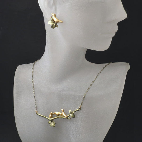 bird necklace and earrings