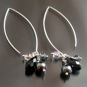 dark gunmetal grey hematite and black swarovski crystal sterling silver dangle earrings with long hook
