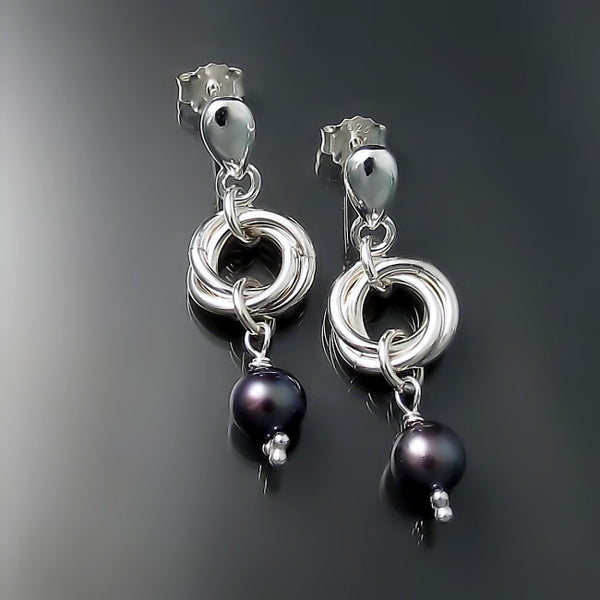 black pearl earrings sterling silver jewelry