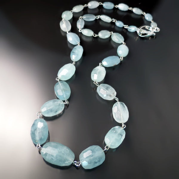 aquamarine necklace sterling silver jewelry