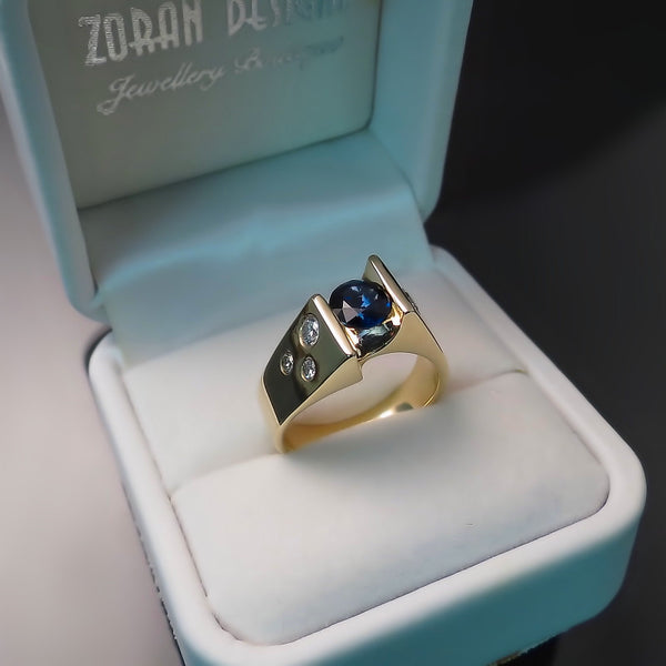 Blue Sapphire and Diamond Ring Unique Modern Design