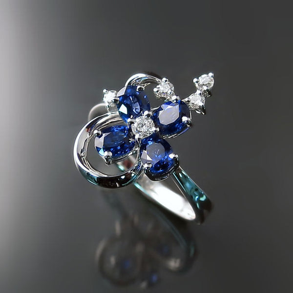Blue Sapphire Flower Ring with Diamonds