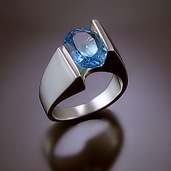 Modern Blue Topaz Statement Ring