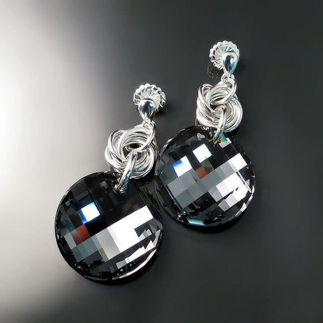 Black Crystal Statement Earrings - Bold Bling Crystal Jewelry