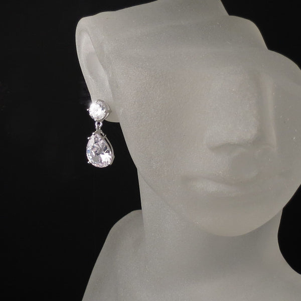 bridal earrings with cz cubic zirconia