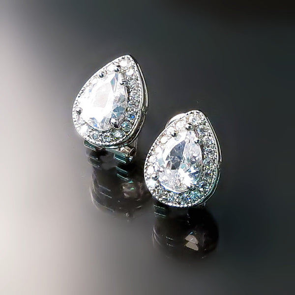 CZ Teardrop Stud Earrings - CZ Jewelry - Bridal Jewelry
