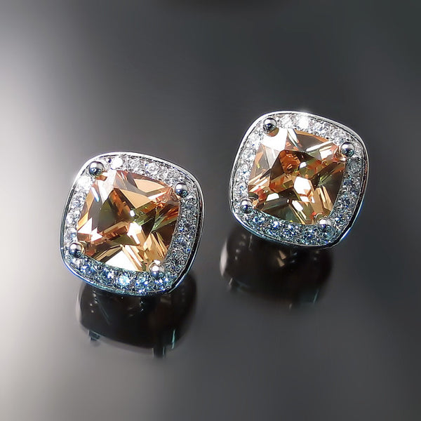 Imitation champagne diamond cushion cut halo CZ earrings