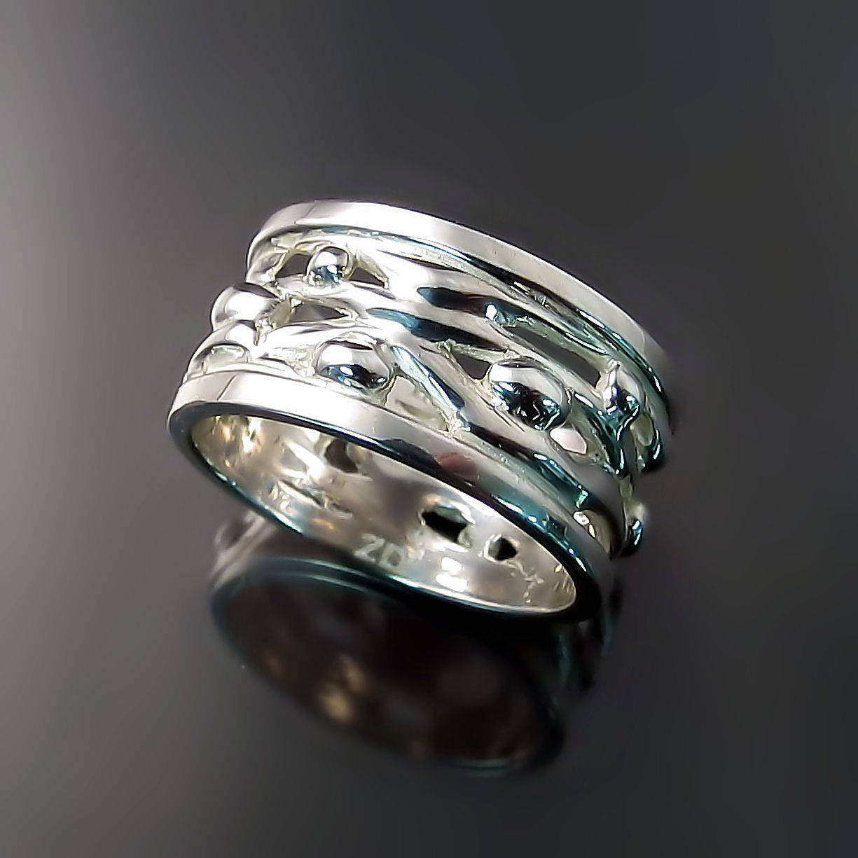 Chunky Silver Band with Organic Design