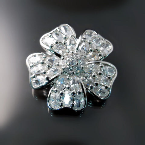 CZ Flower Brooch - Cubic Zirconia Bridal Jewelry