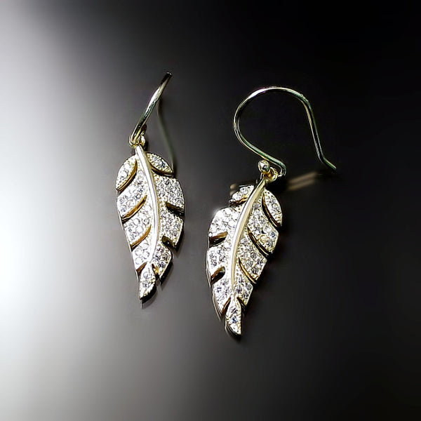 cz jewelry sparkly gold feather leaf earrings