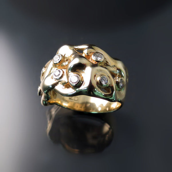 Chunky Gold Ring with Diamonds