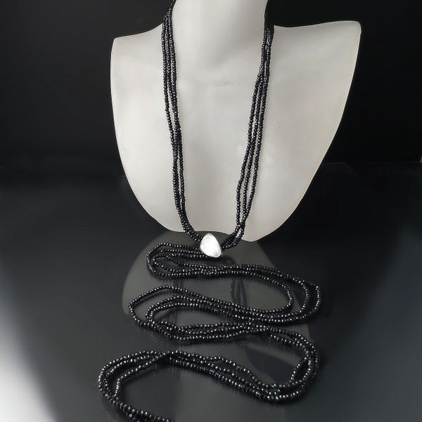 Dramatic Long Black Necklace