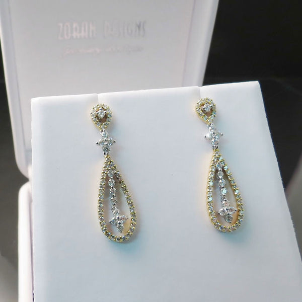 Diamond Earrings in 18K Two Tone Gold