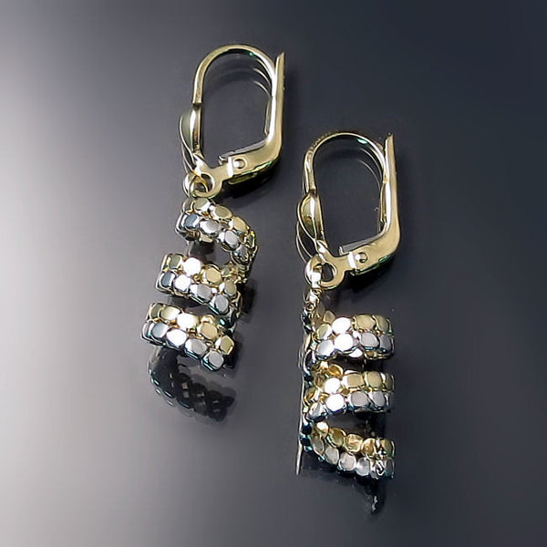 earrings in two tone gold