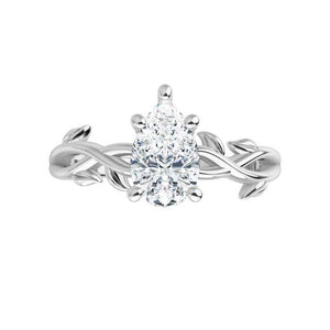 White Gold Moissanite Engagement Ring Leaf Design