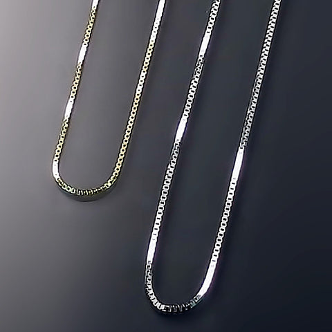 fine box link chains in 14K gold N109