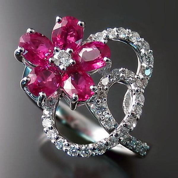 Flower Ruby Rings