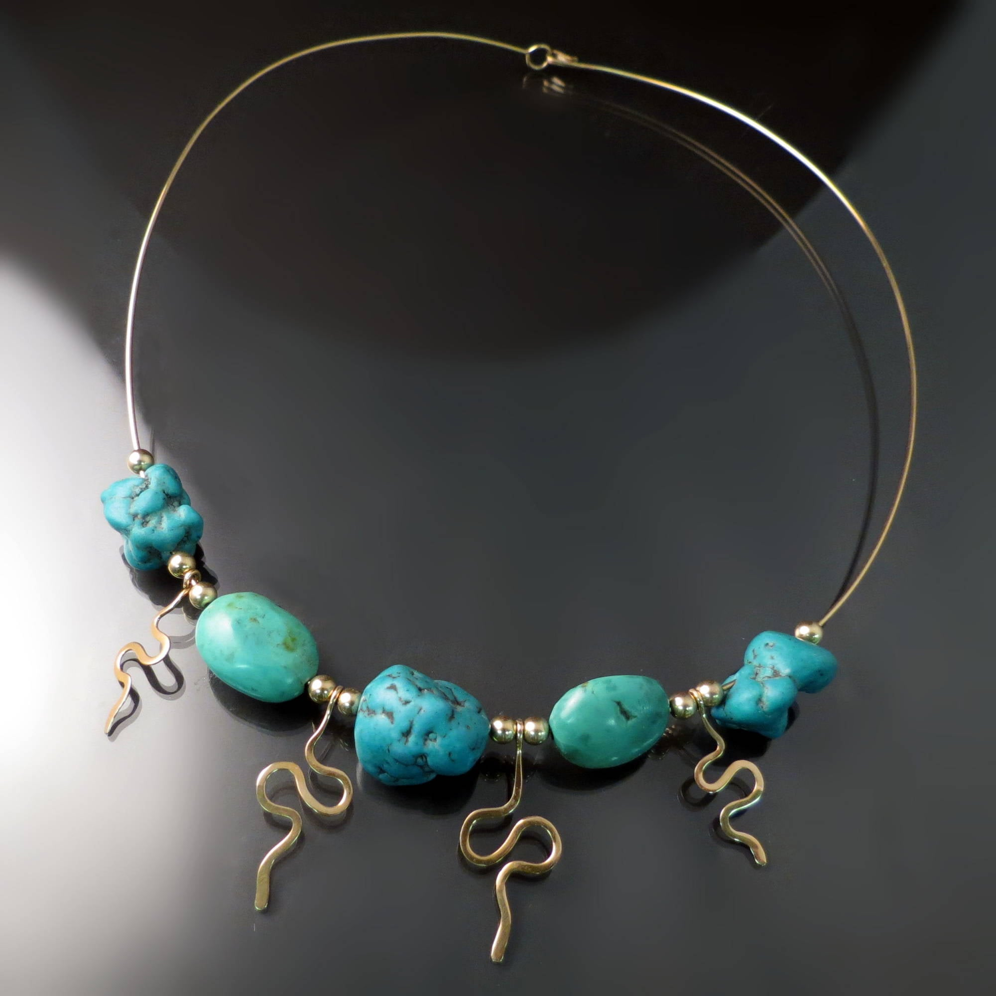 Tumbled Turquoise Gold Wire Necklace