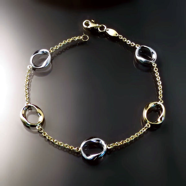 Gold jewelry delicate two tone bracelet