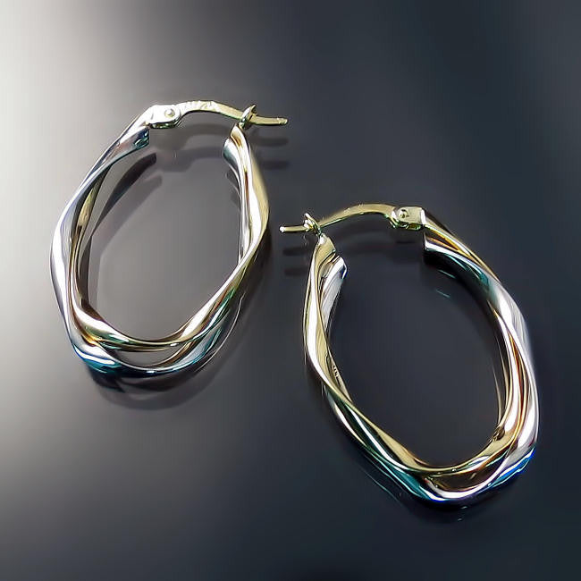 gold jewelry two tone hoop earrings