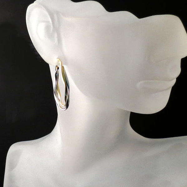 gold jewelry two tone hoops