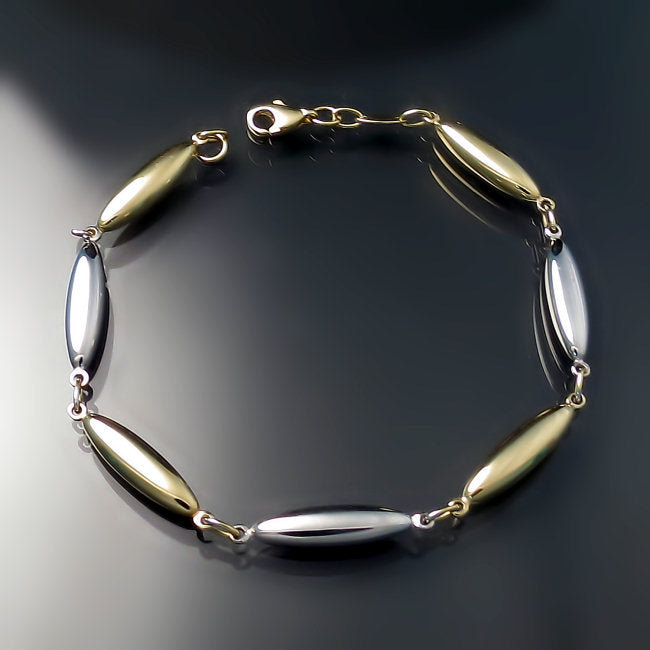 Gold jewelry two tone link bracelet