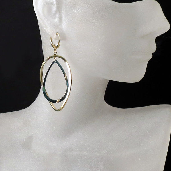 Two tone Gold Statement Earrings