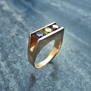 gold channel set ring amethyst peridot garnet