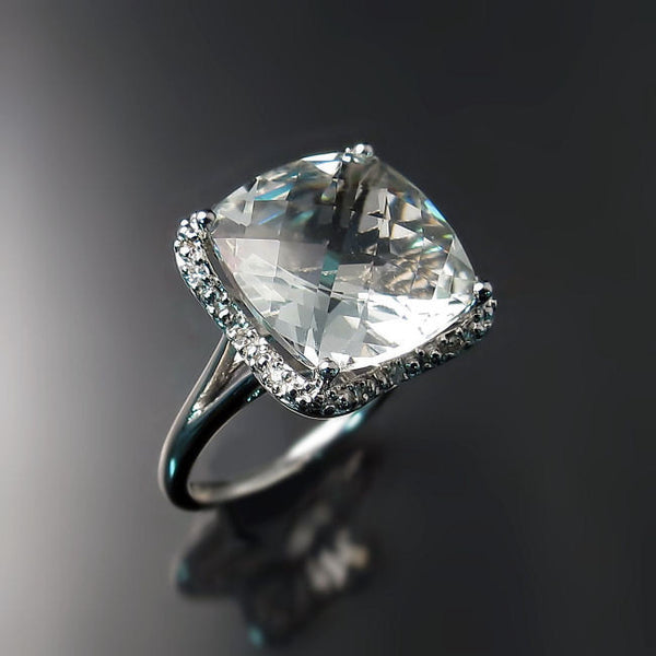 Cushoin Cut Green Amethyst Ring