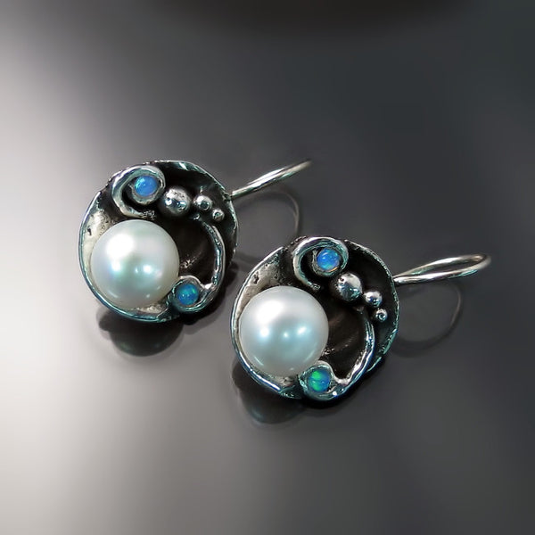 Pearl and Opal Earrings - Sterling Silver Jewelry