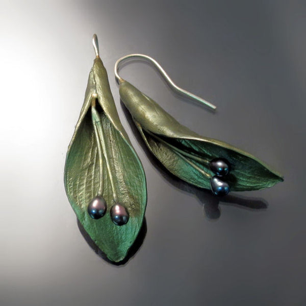 Hosta Leaf Earrings Artisan Jewelry