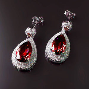 Imitation Ruby Diamond Earrings