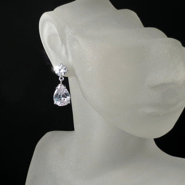 imitation diamond teardrop earrings cz cubic zirconia bridal jewelry