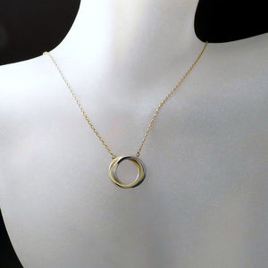 interlocked circle pendant necklace gold