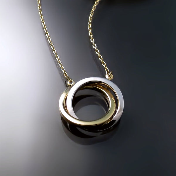 jewelry two tone circle pendant necklace