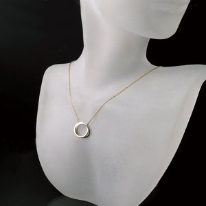 jewelry two tone gold circle pendant necklace