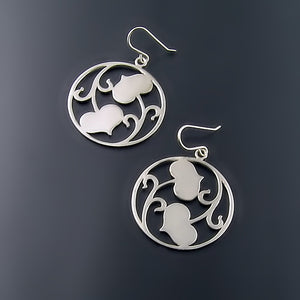 Large Heart Leaf Silver Earrings