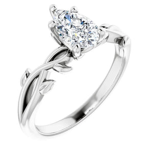 Moissanite Engagement Ring Leaf Design