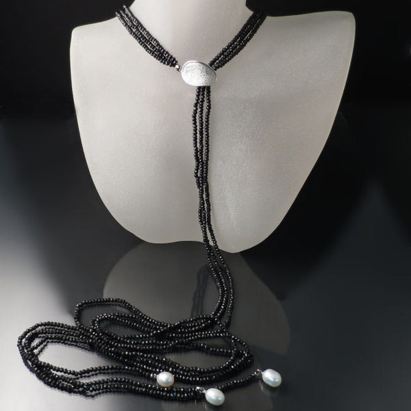 Long Black Dramatic Statement Necklace