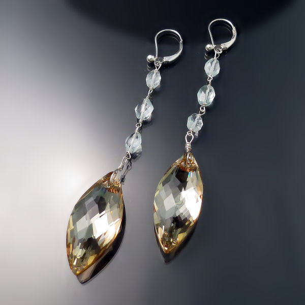 Crystal Jewelry: Elegant Long Champagne Crystal Earrings
