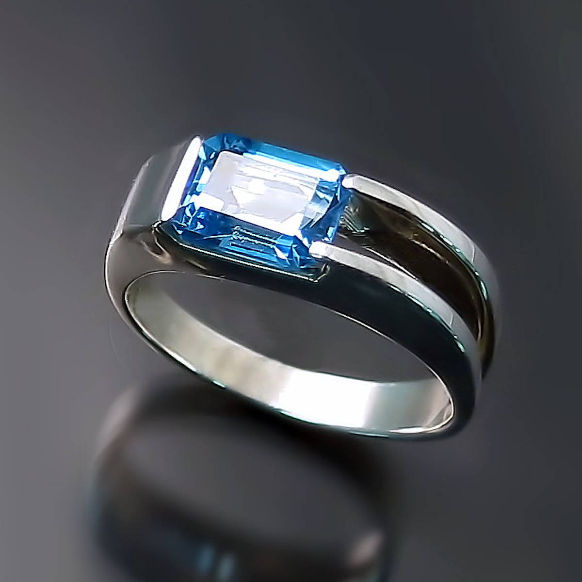 Modern Blue Topaz Ring Sterling Silver