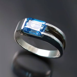 Modern Sterling Silver Ring with Blue Topaz