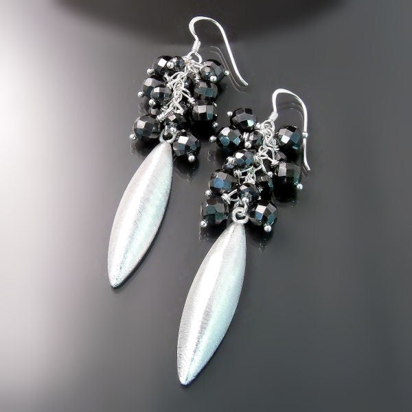 Long silver earrings modern statement jewelry