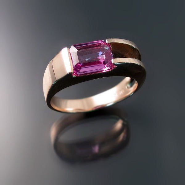 modern rose gold ring with pink sapphire