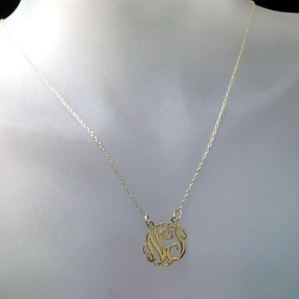 customized gold monogram necklace with two letters