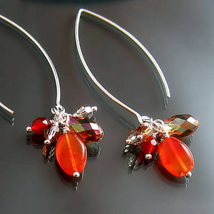 orange carnelian and amber swarovski crystal sterling silver dangle earrings with long hook